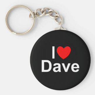 I Love (Heart) Dave Basic Round Button Key Ring