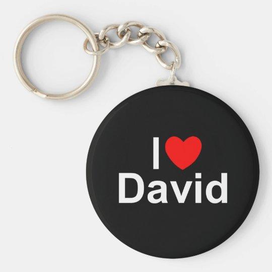 I Love (Heart) David Basic Round Button Key Ring