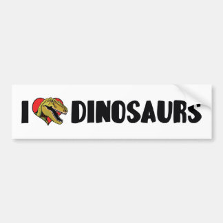 I Love Heart Dinosaurs - Dinosaur Fossil Hunter Bumper Sticker