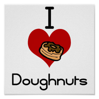 I love-heart doughnut posters