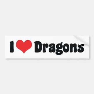I Love Heart Dragons Bumper Sticker