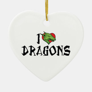 I Love Heart Dragons Christmas Ornament