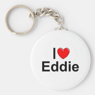I Love (Heart) Eddie Basic Round Button Key Ring
