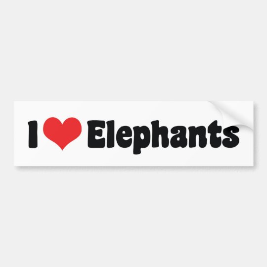 I Love Heart Elephants - Elephant Lover Bumper Sticker