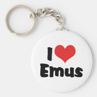 I Love Heart Emus - Emu & Ostrich Lover Basic Round Button Key Ring