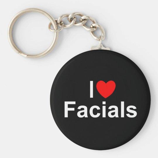 I Love (Heart) Facials Basic Round Button Key Ring
