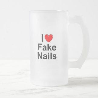 I Love (Heart) Fake Nails Frosted Glass Mug