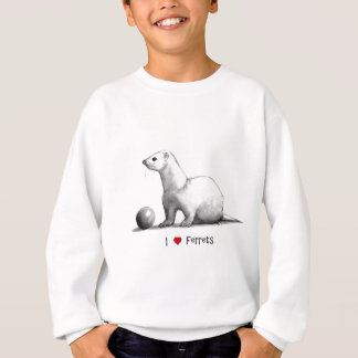 I Love (Heart) Ferrets: Pencil Drawing Sweatshirt