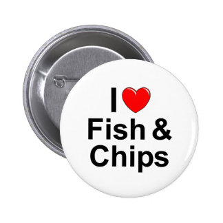 I Love Heart Fish Chips Pinback Button