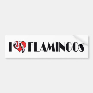 I Love Heart Flamingos - Pink Flamingo Lovers Bumper Sticker