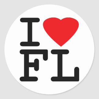 I Love Heart Florida Classic Round Sticker