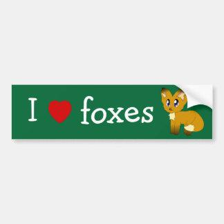 I Love/Heart Foxes Bumper Stickers