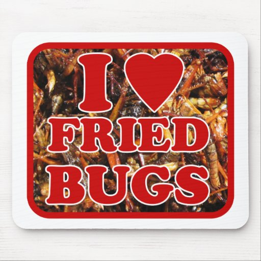 I Love (Heart) Fried Bugs / Edible Insects Mouse Pad