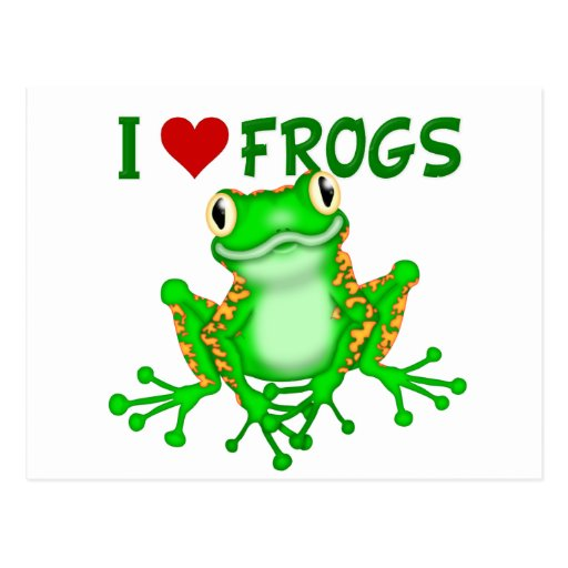 I love (heart) Frogs Post Card