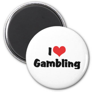 I Love Heart Gambling - Las Vegas Casino Lover 6 Cm Round Magnet