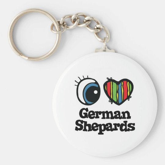 I Love (Heart) German shepards Basic Round Button Key Ring