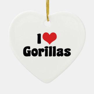 I Love Heart Gorillas - Gorilla Lover Christmas Ornament