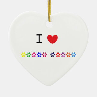 I love heart  great danes dog heart ornament