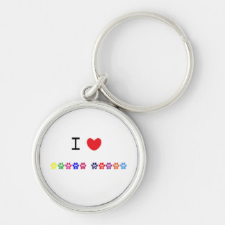 I love heart great danes dog keychain, gift idea Silver-Colored round key ring