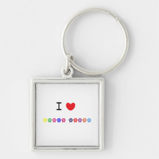 I love heart great danes dog keychain, gift idea Silver-Colored square key ring