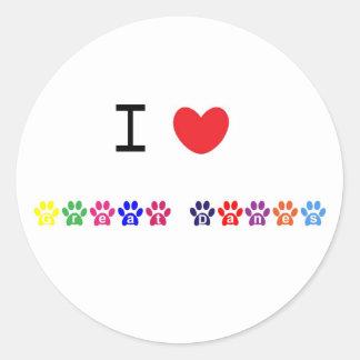 I love heart great danes dog stickers, gift idea round sticker