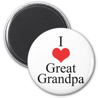 I Love (Heart) Great Grandpa 6 Cm Round Magnet