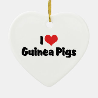 I Love Heart Guinea Pigs Christmas Ornament