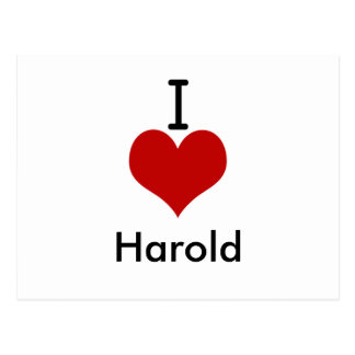 I Love (heart) Harold Postcard