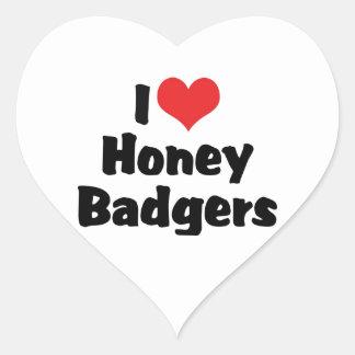 I Love Heart Honey Badgers Heart Sticker
