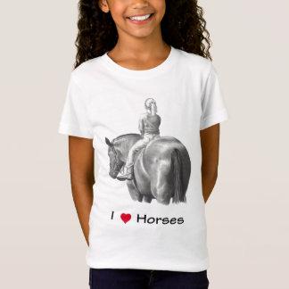 I Love (Heart) Horses: Girl on Horse: Pencil T-Shirt