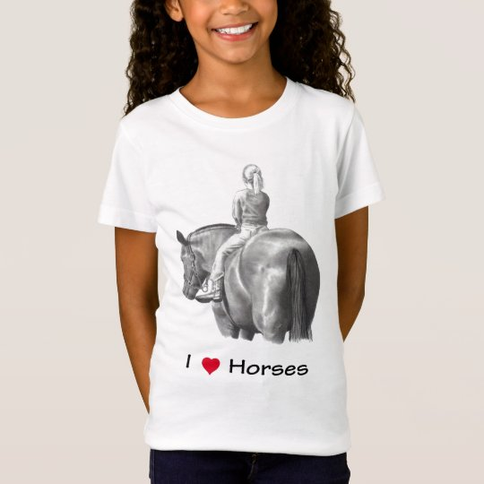 I Love (Heart) Horses: Girl on Horse: Pencil