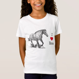 I LOVE (heart) HORSES: Pencil Drawing of Horse T-Shirt