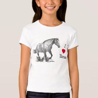 I LOVE (heart) HORSES: Pencil Drawing of Horse T Shirts