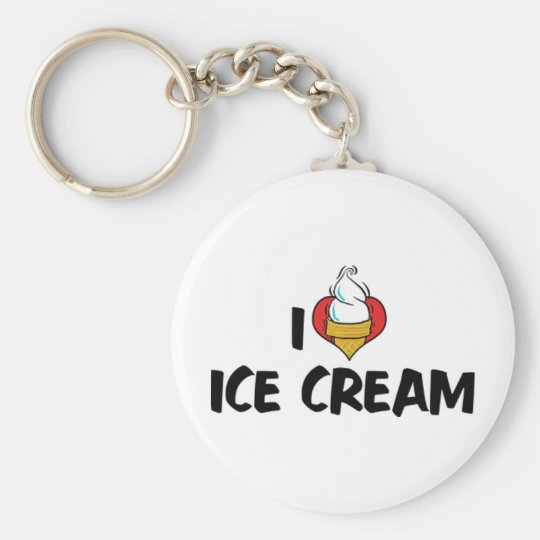 I Love Heart Ice Cream Basic Round Button Key Ring