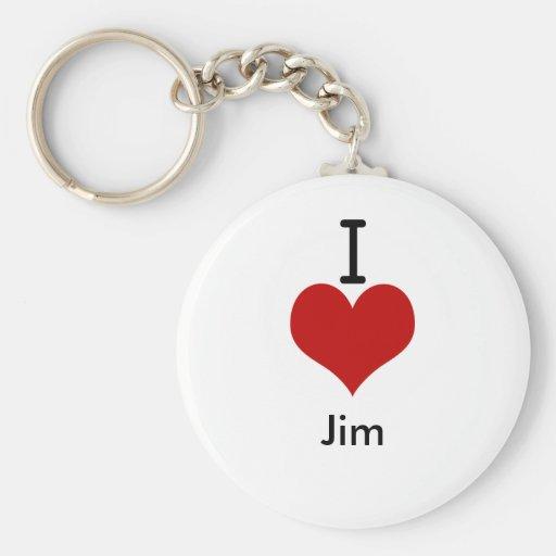 I Love (heart) Jim Key Chain
