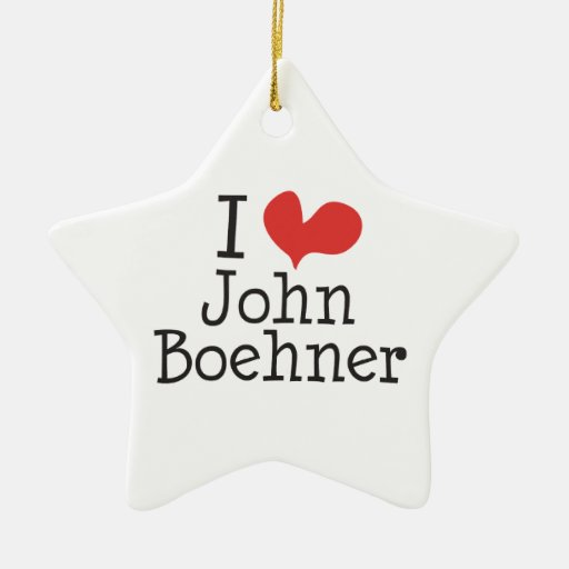 I Love (heart) John Boehner Christmas Tree Ornament
