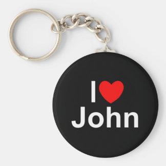 I Love (Heart) John Keychains