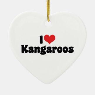 I Love Heart Kangaroos - Kangaroo Lover Christmas Ornament