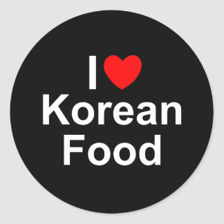 I Love(Heart) Korean Food Round Sticker