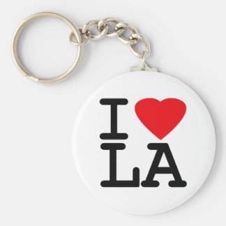 I Love Heart LA Basic Round Button Key Ring