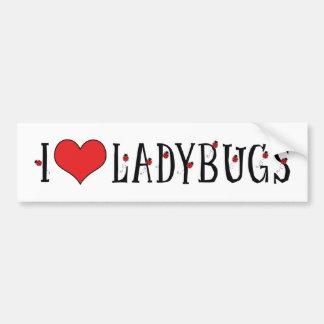 I Love Heart Ladybugs - Ladybug Lovers Bumper Sticker