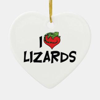 I Love Heart Lizards - Reptile Lover Christmas Ornament