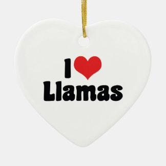 I Love Heart Llamas Christmas Ornament