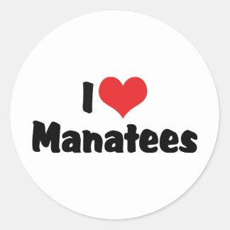 I Love Heart Manatees Classic Round Sticker