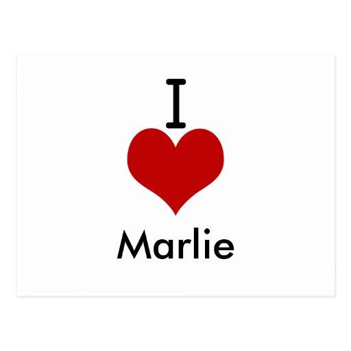 I Love (heart) Marlie Postcard