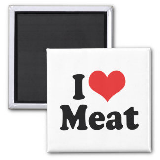 I Love Heart Meat - Beef Steak BBQ Lover Square Magnet