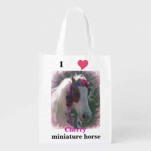 I Love(heart) miniature horse Cherry canvas bag Grocery Bag