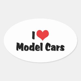 I Love Heart Model Cars - Model Car Builder Oval Sticker