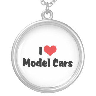 I Love Heart Model Cars - Model Car Builder Round Pendant Necklace