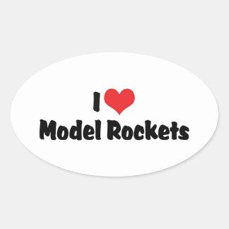 I Love Heart Model Rockets - Rocketry Lover Oval Sticker